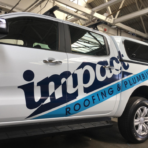 Impact Roofing and Plumbing car wrap by ProSigns
