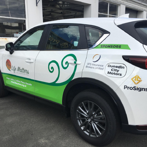 Life Matters car wrap by ProSigns side view
