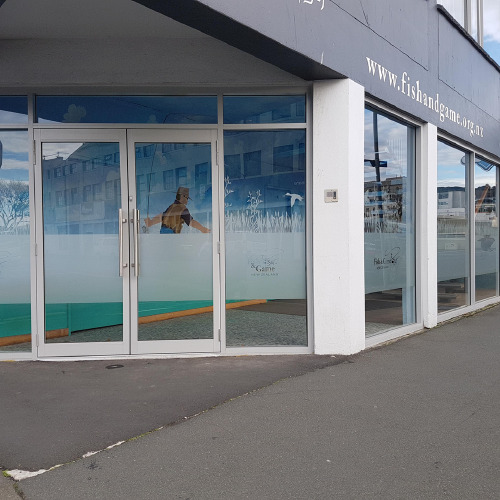 Window graphic for Fish & Game New Zealand by ProSigns