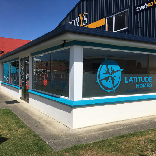 Latitude Homes window decal by ProSigns